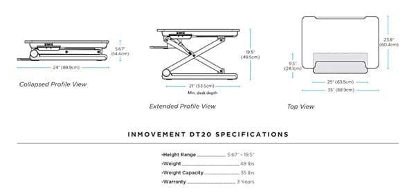 InMovement Standing Desk DT20 dimensions