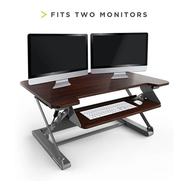 InMovement desk riser fits two monitors