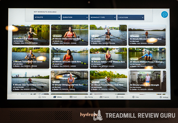 Hydrow Library rowing programs