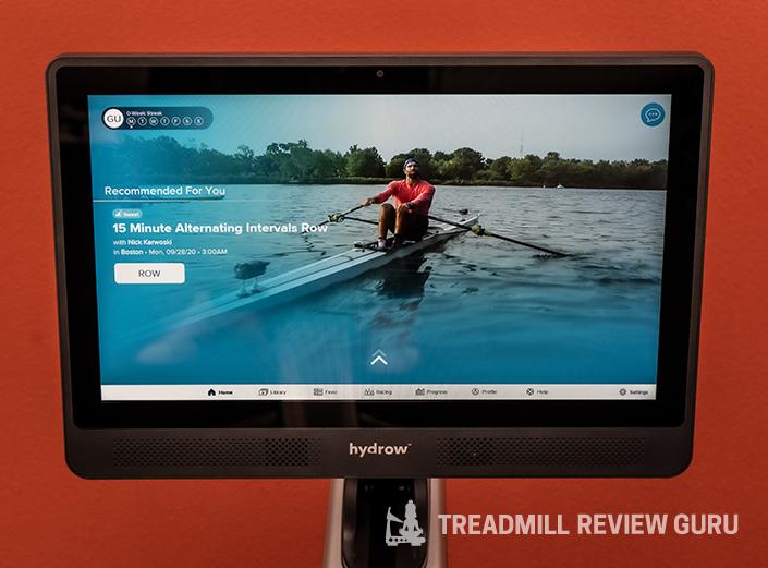 Hydrow main screen